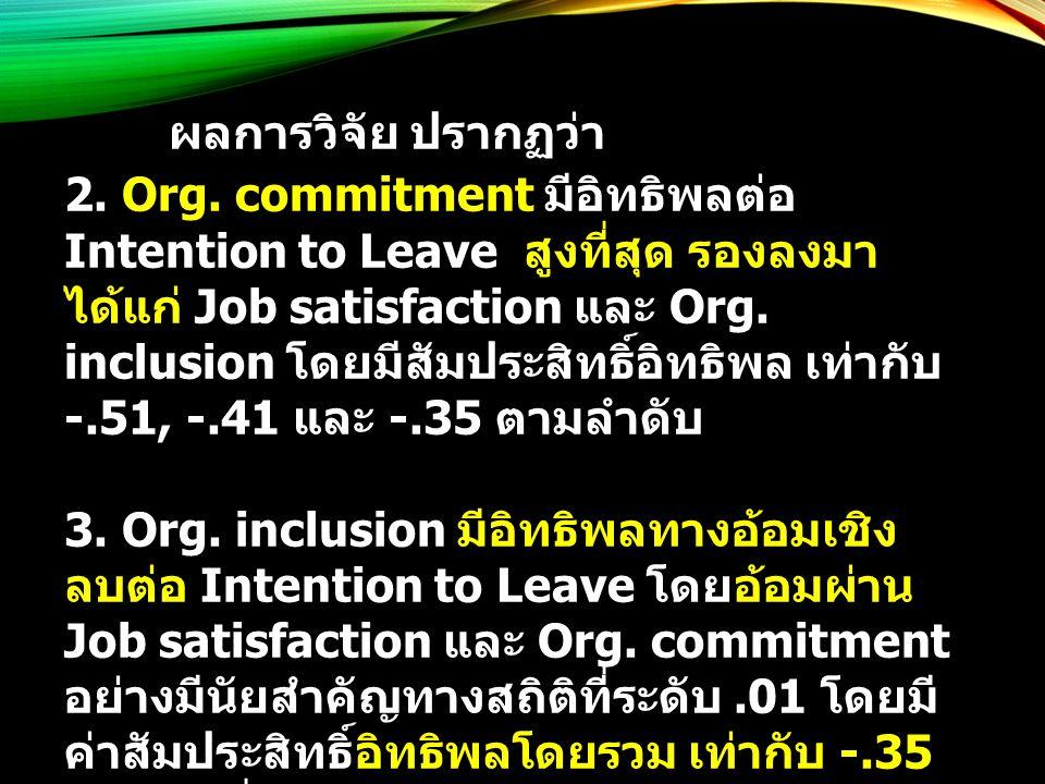 ผลการวิจัย ปรากฏว่า 2. Org. commitment มีอิทธิพลต่อ Intention to Leave สูงที่สุด รองลงมา ได้แก่ Job satisfaction และ Org. inclusion โดยมีสัมประสิทธิ์อ