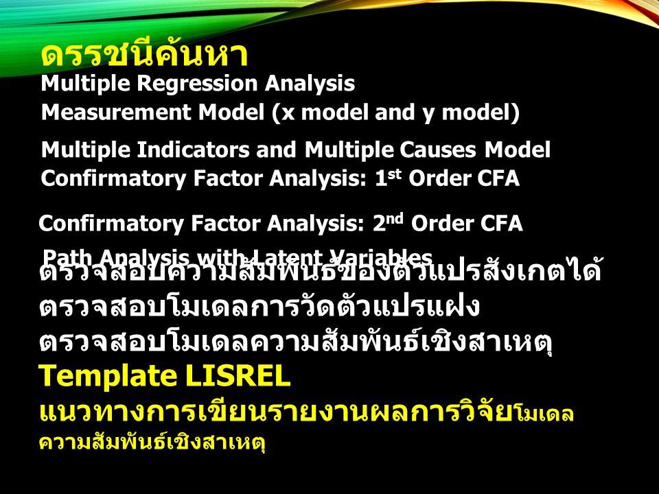 ดรรชนีค้นหา Multiple Regression Analysis Measurement Model (x model and y model) Multiple Indicators and Multiple Causes Model Confirmatory Factor Ana