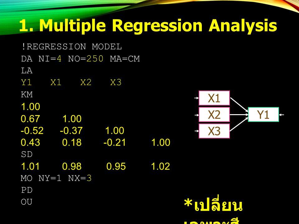 1. Multiple Regression Analysis !REGRESSION MODEL DA NI=4 NO=250 MA=CM LA Y1 X1 X2 X3 KM 1.00 0.67 1.00 -0.52 -0.37 1.00 0.43 0.18 -0.21 1.00 SD 1.01