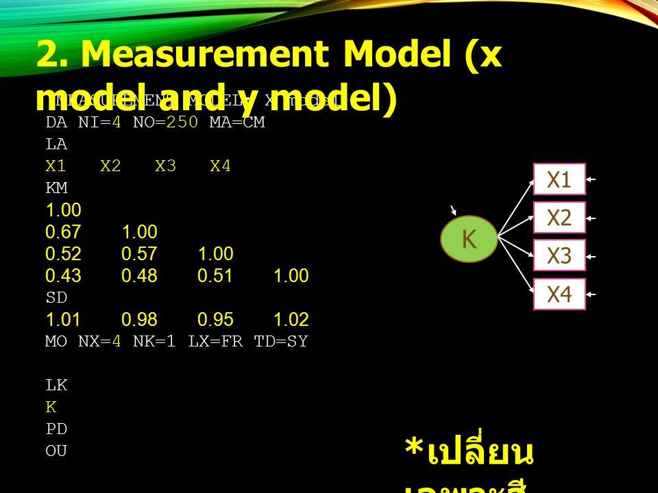 !MEASUREMENT MODEL: X model DA NI=4 NO=250 MA=CM LA X1 X2 X3 X4 KM 1.00 0.67 1.00 0.52 0.57 1.00 0.43 0.48 0.51 1.00 SD 1.01 0.98 0.95 1.02 MO NX=4 NK=1 LX=FR TD=SY LK K PD OU * เปลี่ยน เฉพาะสี เหลือง 2.