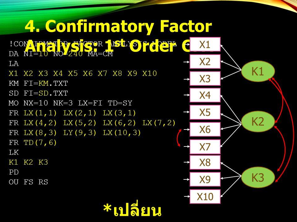 !CONFIRMATOR FACTOR ANALYSIS MODEL DA NI=10 NO=240 MA=CM LA X1 X2 X3 X4 X5 X6 X7 X8 X9 X10 KM FI=KM.TXT SD FI=SD.TXT MO NX=10 NK=3 LX=FI TD=SY FR LX(1