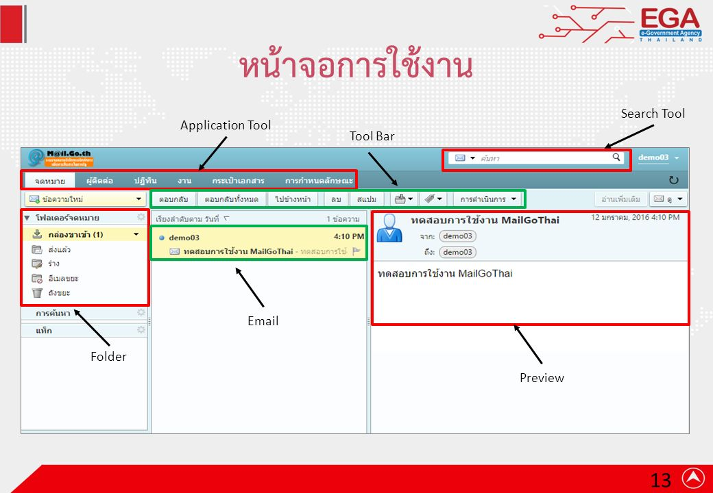 หน้าจอการใช้งาน Application Tool Folder Preview Email Tool Bar Search Tool 13