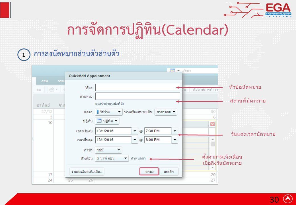 การจัดการปฏิทิน(Calendar) การลงนัดหมายส่วนตัวส่วนตัว 1 หัวข้อนัดหมาย สถานที่นัดหมาย วันและเวลานัดหมาย ตั้งค่าการแจ้งเตือน เมื่อถึงวันนัดหมาย 30