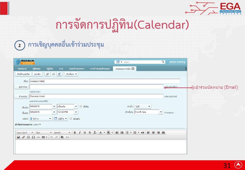การจัดการปฏิทิน(Calendar) การเชิญบุคคลอื่นเข้าร่วมประชุม 2 ผู้เข้าร่วมนัดหมาย (Email) 31