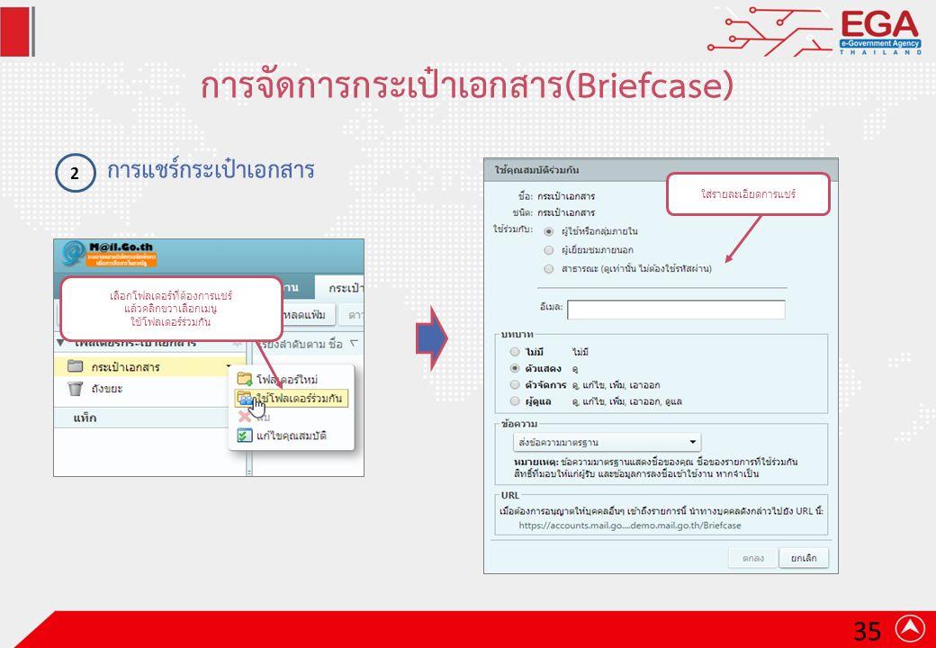 การจัดการกระเป๋าเอกสาร(Briefcase) การแชร์กระเป๋าเอกสาร 2 เลือกโฟลเดอร์ที่ต้องการแชร์ แล้วคลิกขวาเลือกเมนู ใช้โฟลเดอร์ร่วมกัน ใส่รายละเอียดการแชร์ 35