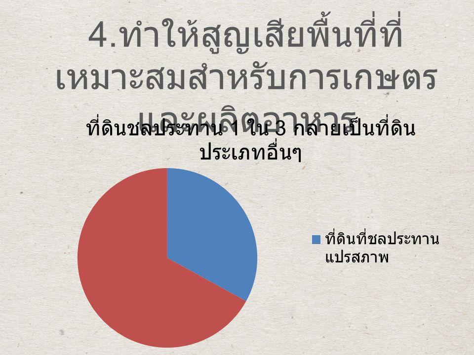 4. ทำให้สูญเสียพื้นที่ที่ เหมาะสมสำหรับการเกษตร และผลิตอาหาร