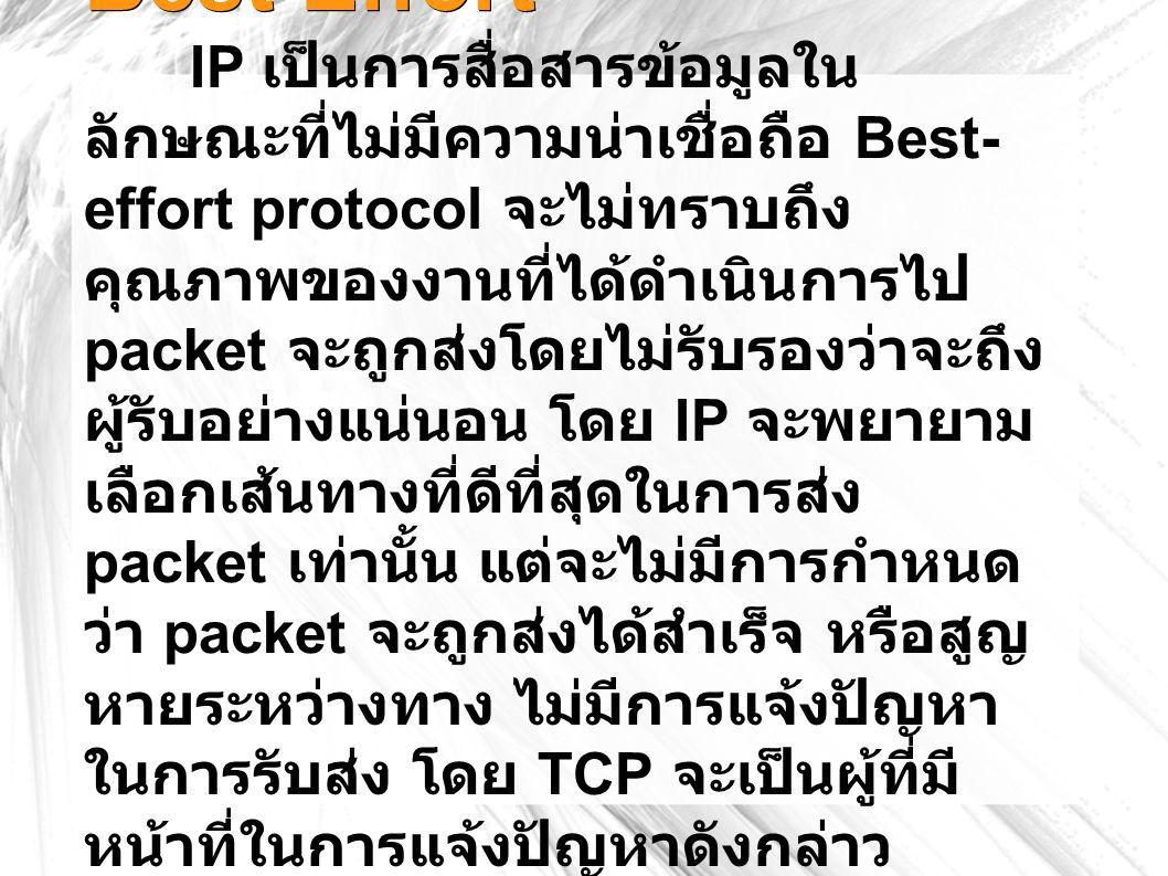 Best Effort IP เป็นการสื่อสารข้อมูลใน ลักษณะที่ไม่มีความน่าเชื่อถือ Best- effort protocol จะไม่ทราบถึง คุณภาพของงานที่ได้ดำเนินการไป packet จะถูกส่งโดยไม่รับรองว่าจะถึง ผู้รับอย่างแน่นอน โดย IP จะพยายาม เลือกเส้นทางที่ดีที่สุดในการส่ง packet เท่านั้น แต่จะไม่มีการกำหนด ว่า packet จะถูกส่งได้สำเร็จ หรือสูญ หายระหว่างทาง ไม่มีการแจ้งปัญหา ในการรับส่ง โดย TCP จะเป็นผู้ที่มี หน้าที่ในการแจ้งปัญหาดังกล่าว