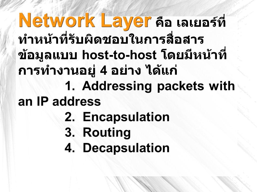 Network Layer Network Layer คือ เลเยอร์ที่ ทำหน้าที่รับผิดชอบในการสื่อสาร ข้อมูลแบบ host-to-host โดยมีหน้าที่ การทำงานอยู่ 4 อย่าง ได้แก่ 1.