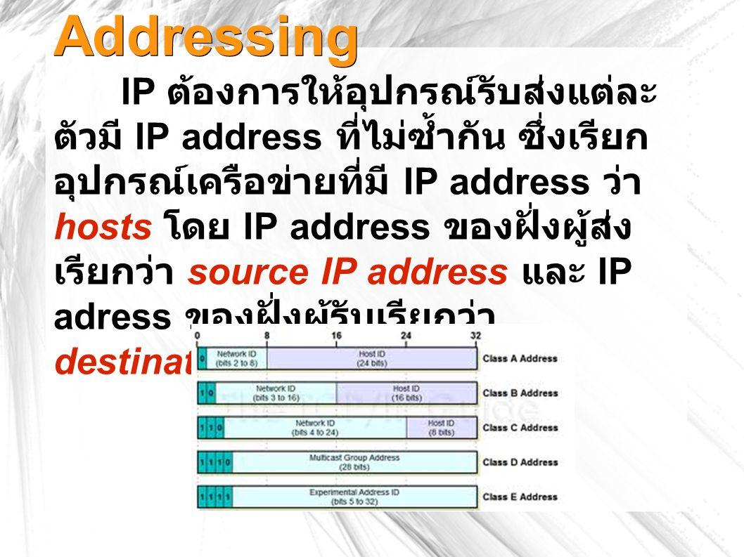 Addressing IP ต้องการให้อุปกรณ์รับส่งแต่ละ ตัวมี IP address ที่ไม่ซ้ำกัน ซึ่งเรียก อุปกรณ์เครือข่ายที่มี IP address ว่า hosts โดย IP address ของฝั่งผู้ส่ง เรียกว่า source IP address และ IP adress ของฝั่งผู้รับเรียกว่า destination IP address