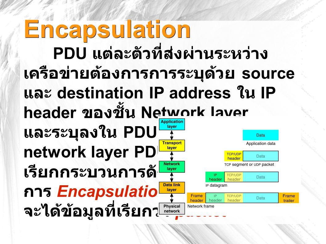 Encapsulation PDU แต่ละตัวที่ส่งผ่านระหว่าง เครือข่ายต้องการการระบุด้วย source และ destination IP address ใน IP header ของชั้น Network layer และระบุลงใน PDU ให้เป็น network layer PDU ซึ่ง เรียกกระบวนการดังกล่าวว่า การ Encapsulation ซึ่ง จะได้ข้อมูลที่เรียกว่า packet