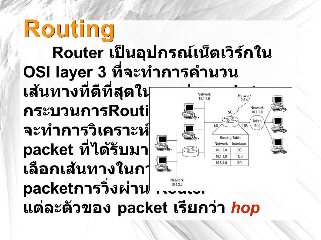 Routing Router เป็นอุปกรณ์เน็ตเวิร์กใน OSI layer 3 ที่จะทำการคำนวน เส้นทางที่ดีที่สุดในการส่ง packets กระบวนการ Routing ของ Router จะทำการวิเคราะห์ที่อยู่ packet ที่ได้รับมาแล้ว เลือกเส้นทางในการส่งต่อ packet การวิ่งผ่าน Router แต่ละตัวของ packet เรียกว่า hop