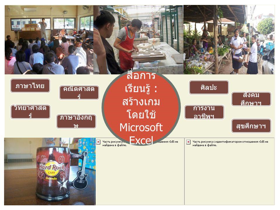 สื่อการ เรียนรู้ : สร้างเกม โดยใช้ Microsoft Excel ภาษาไทย ภาษาอังกฤ ษ คณิตศาสต ร์ ศิลปะ การงาน อาชีพฯ วิทยาศาสต ร์ สังคม ศึกษาฯ สุขศึกษาฯ