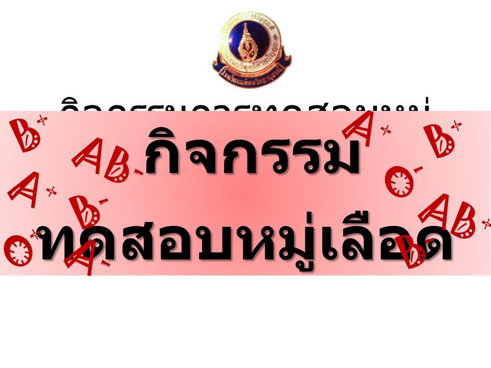 อุปกรณ์ สารละลาย Anti-A สารละลาย Anti-B สารละลาย Anti-Rh เลือดของผู้ต้องสงสัยคนที่ 1 2 3 และ 4