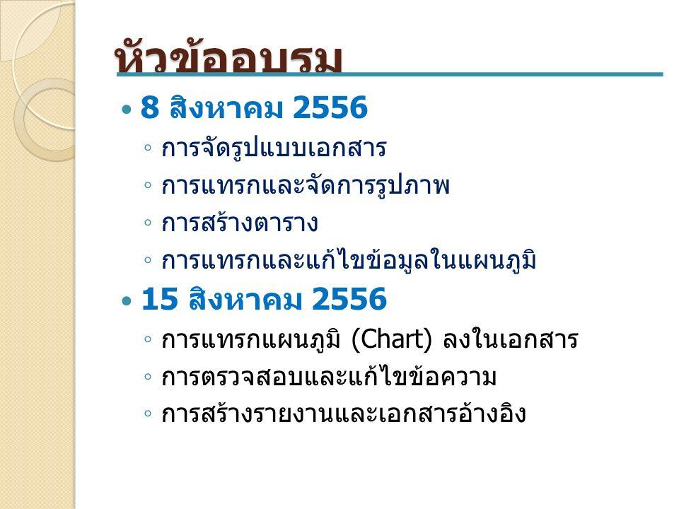 หัวข้ออบรม 8 สิงหาคม 2556 ◦ การจัดรูปแบบเอกสาร ◦ การแทรกและจัดการรูปภาพ ◦ การสร้างตาราง ◦ การแทรกและแก้ไขข้อมูลในแผนภูมิ 15 สิงหาคม 2556 ◦ การแทรกแผนภูมิ (Chart) ลงในเอกสาร ◦ การตรวจสอบและแก้ไขข้อความ ◦ การสร้างรายงานและเอกสารอ้างอิง
