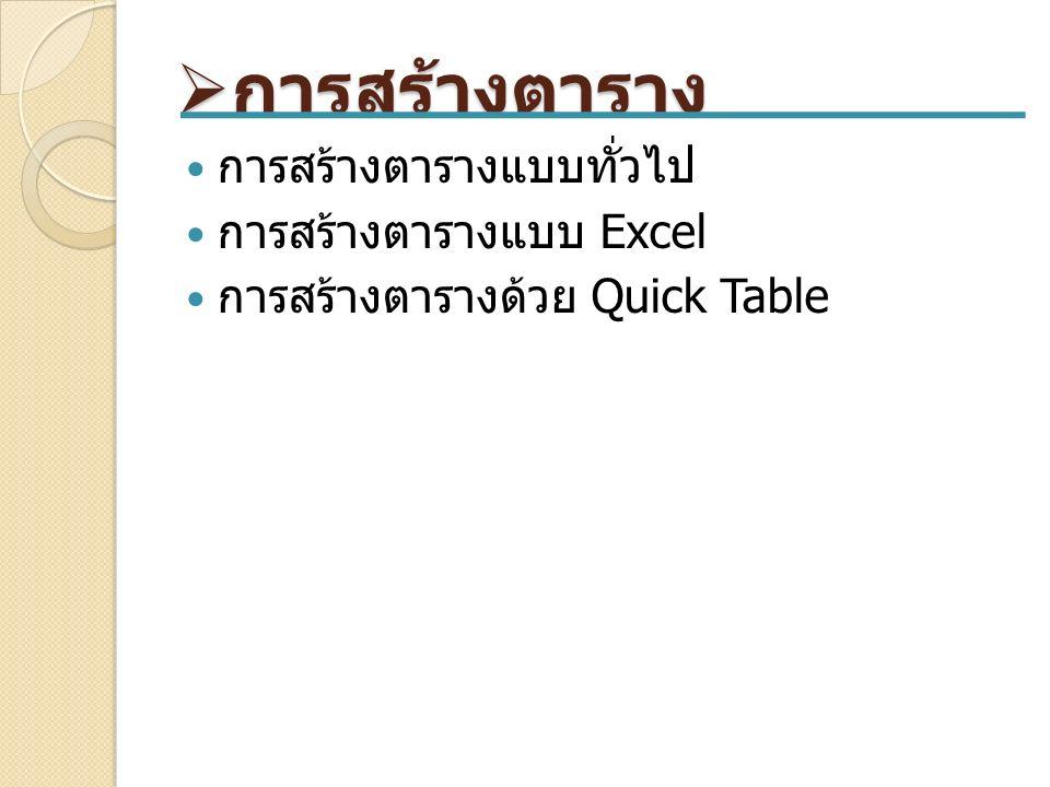  การสร้างตาราง การสร้างตารางแบบทั่วไป การสร้างตารางแบบ Excel การสร้างตารางด้วย Quick Table