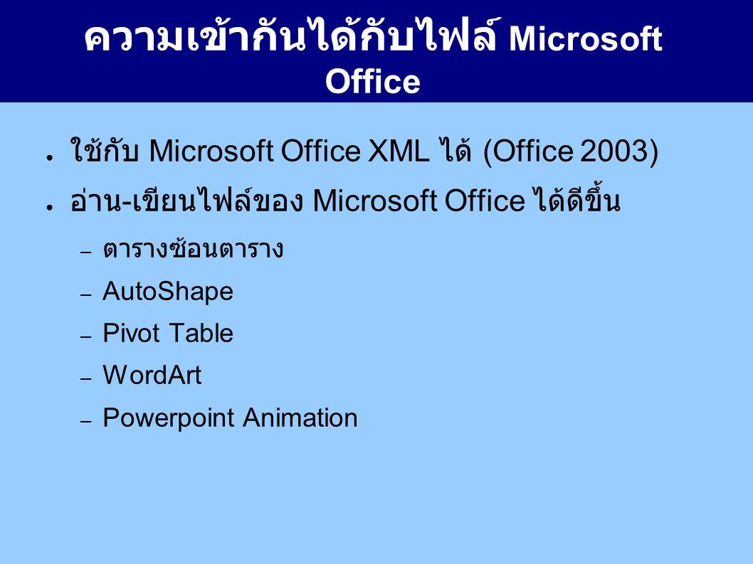 ความเข้ากันได้กับไฟล์ Microsoft Office ● ใช้กับ Microsoft Office XML ได้ (Office 2003) ● อ่าน - เขียนไฟล์ของ Microsoft Office ได้ดีขึ้น – ตารางซ้อนตาราง – AutoShape – Pivot Table – WordArt – Powerpoint Animation