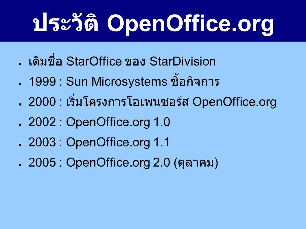 ประวัติ OpenOffice.org ● เดิมชื่อ StarOffice ของ StarDivision ● 1999 : Sun Microsystems ซื้อกิจการ ● 2000 : เริ่มโครงการโอเพนซอร์ส OpenOffice.org ● 2002 : OpenOffice.org 1.0 ● 2003 : OpenOffice.org 1.1 ● 2005 : OpenOffice.org 2.0 ( ตุลาคม )