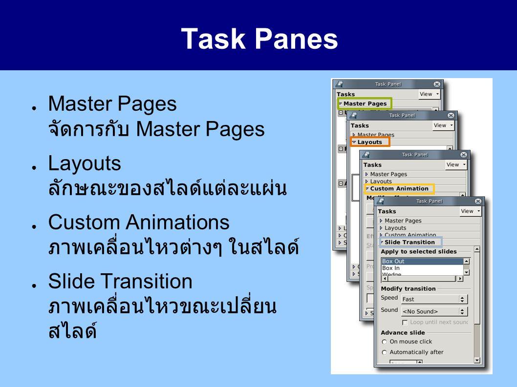 Task Panes ● Master Pages จัดการกับ Master Pages ● Layouts ลักษณะของสไลด์แต่ละแผ่น ● Custom Animations ภาพเคลื่อนไหวต่างๆ ในสไลด์ ● Slide Transition ภาพเคลื่อนไหวขณะเปลี่ยน สไลด์