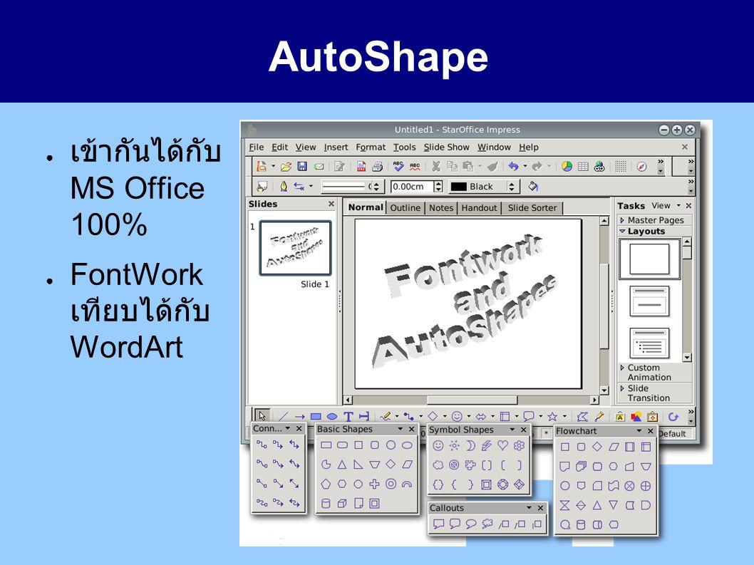 AutoShape ● เข้ากันได้กับ MS Office 100% ● FontWork เทียบได้กับ WordArt