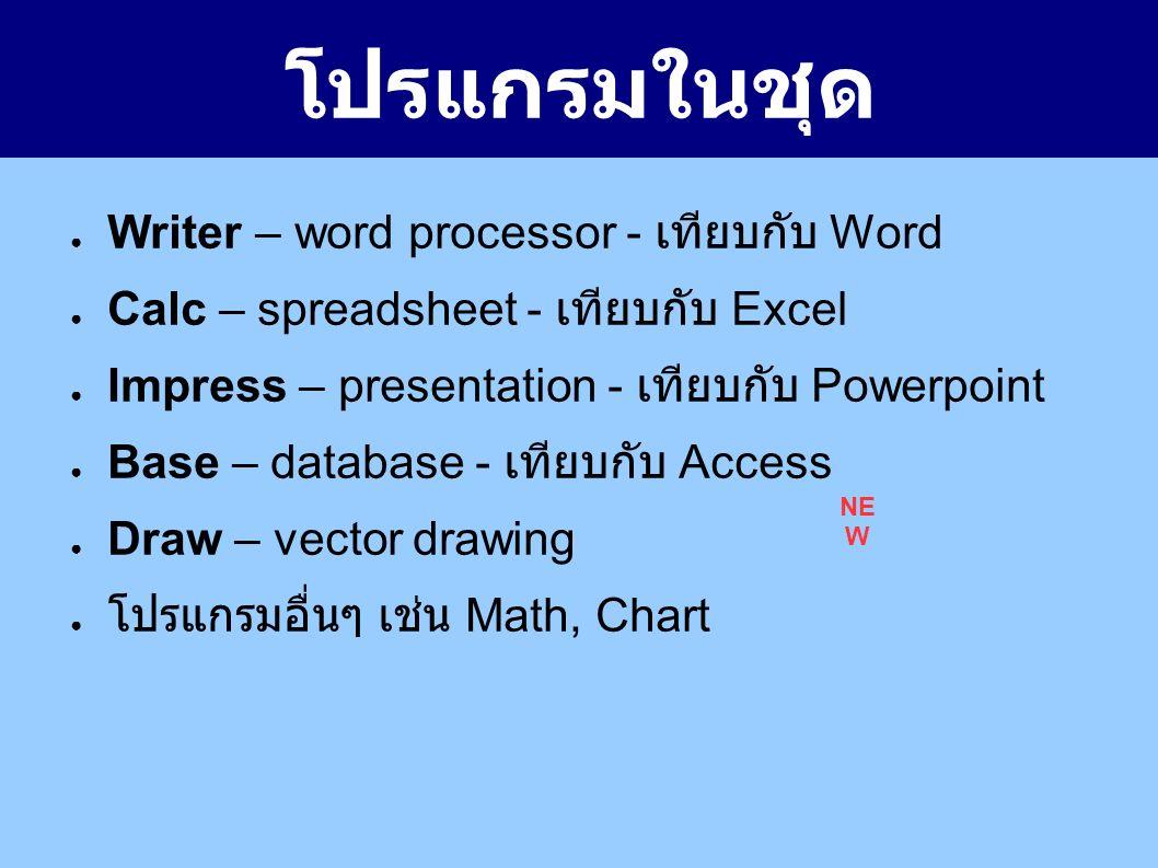 โปรแกรมในชุด ● Writer – word processor - เทียบกับ Word ● Calc – spreadsheet - เทียบกับ Excel ● Impress – presentation - เทียบกับ Powerpoint ● Base – database - เทียบกับ Access ● Draw – vector drawing ● โปรแกรมอื่นๆ เช่น Math, Chart NE W