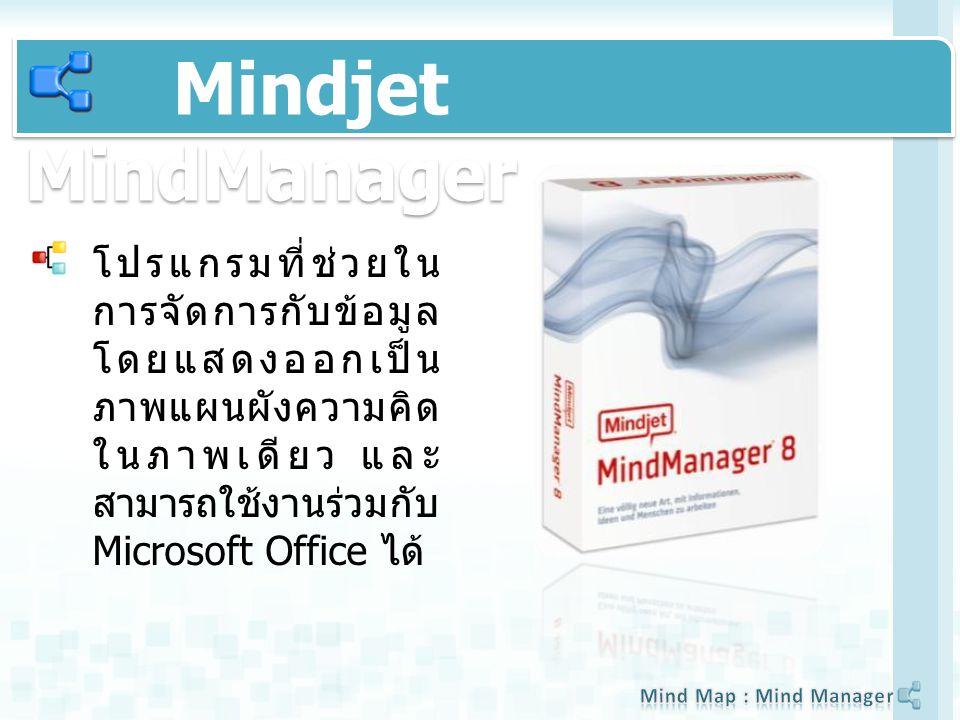 Mindjet MindManager โปรแกรมที่ช่วยใน การจัดการกับข้อมูล โดยแสดงออกเป็น ภาพแผนผังความคิด ในภาพเดียว และ สามารถใช้งานร่วมกับ Microsoft Office ได้