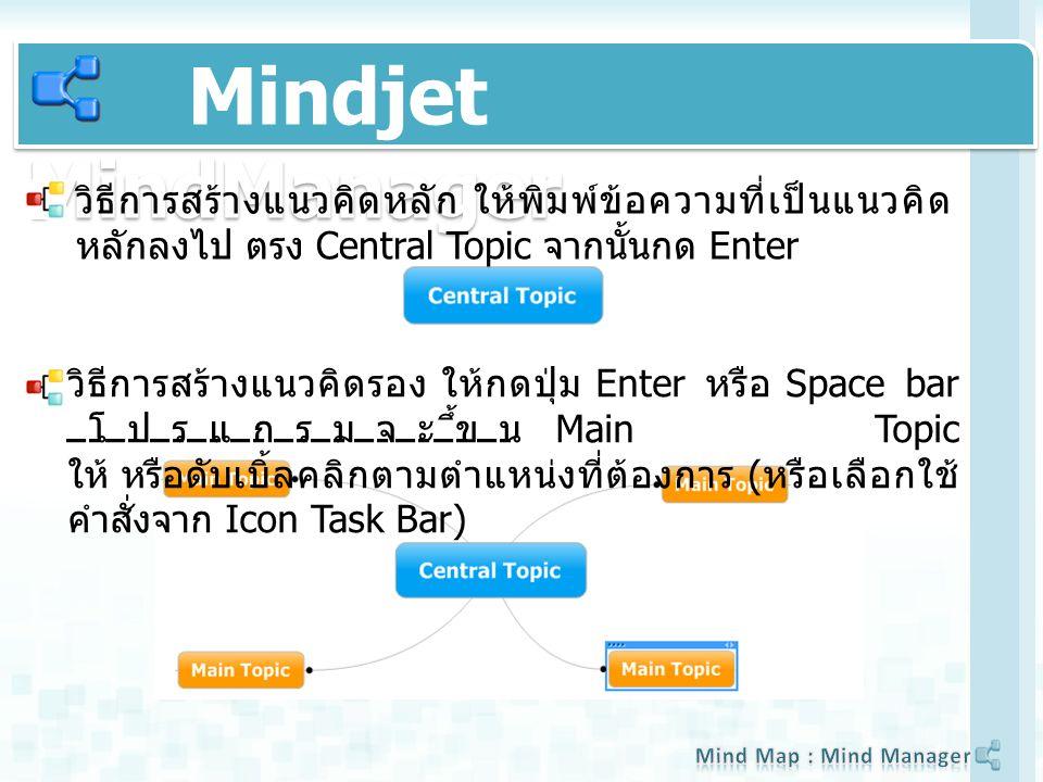 วิธีการสร้างแนวคิดหลัก ให้พิมพ์ข้อความที่เป็นแนวคิด หลักลงไป ตรง Central Topic จากนั้นกด Enter วิธีการสร้างแนวคิดรอง ให้กดปุ่ม Enter หรือ Space bar โปรแกรมจะขึ้น Main Topic ให้ หรือดับเบิ้ลคลิกตามตำแหน่งที่ต้องการ ( หรือเลือกใช้ คำสั่งจาก Icon Task Bar)