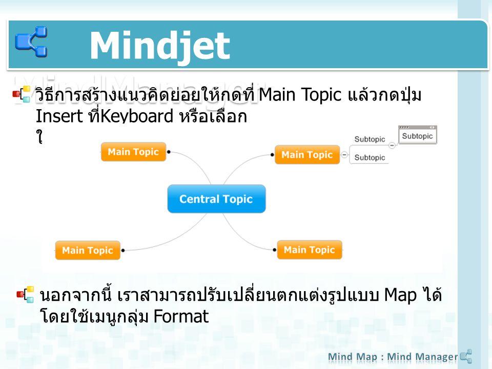 Mindjet MindManager วิธีการสร้างแนวคิดย่อยให้กดที่ Main Topic แล้วกดปุ่ม Insert ที่ Keyboard หรือเลือก ใช้คำสั่งจาก Icon Task Bar นอกจากนี้ เราสามารถปรับเปลี่ยนตกแต่งรูปแบบ Map ได้ โดยใช้เมนูกลุ่ม Format
