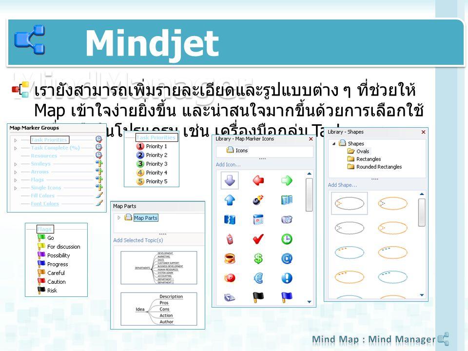 Mindjet MindManager เรายังสามารถเพิ่มรายละเอียดและรูปแบบต่าง ๆ ที่ช่วยให้ Map เข้าใจง่ายยิ่งขึ้น และน่าสนใจมากขึ้นด้วยการเลือกใช้ เครื่องมือในโปรแกรม เช่น เครื่องมือกลุ่ม Task pane
