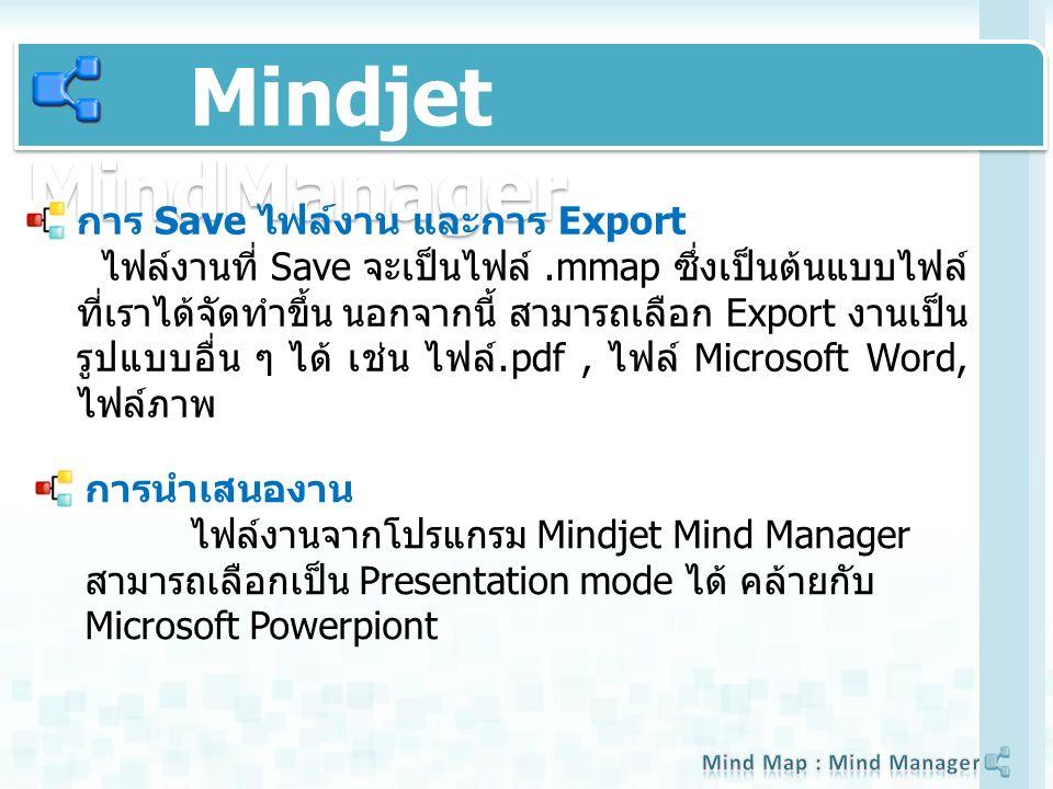 Mindjet MindManager การ Save ไฟล์งาน และการ Export ไฟล์งานที่ Save จะเป็นไฟล์.mmap ซึ่งเป็นต้นแบบไฟล์ ที่เราได้จัดทำขึ้น นอกจากนี้ สามารถเลือก Export งานเป็น รูปแบบอื่น ๆ ได้ เช่น ไฟล์.pdf, ไฟล์ Microsoft Word, ไฟล์ภาพ การนำเสนองาน ไฟล์งานจากโปรแกรม Mindjet Mind Manager สามารถเลือกเป็น Presentation mode ได้ คล้ายกับ Microsoft Powerpiont