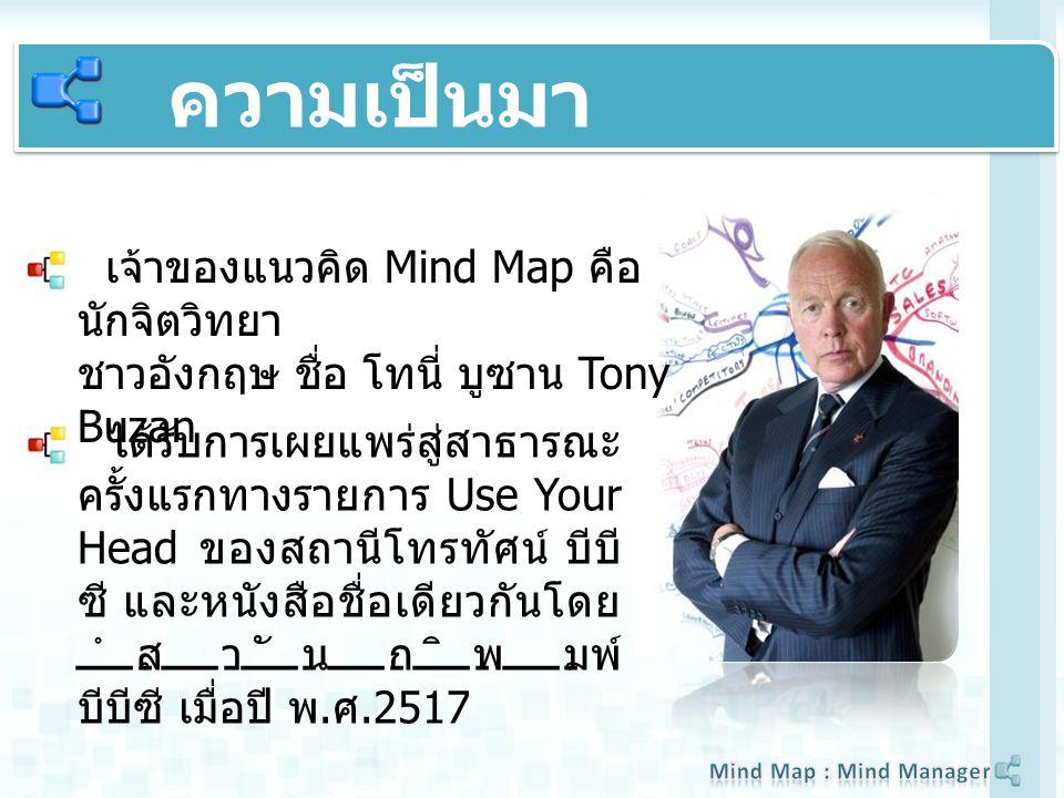 ความเป็นมา เจ้าของแนวคิด Mind Map คือ นักจิตวิทยา ชาวอังกฤษ ชื่อ โทนี่ บูซาน Tony Buzan ได้รับการเผยแพร่สู่สาธารณะ ครั้งแรกทางรายการ Use Your Head ของ