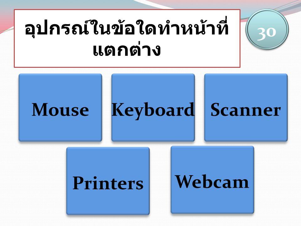 อุปกรณ์ในข้อใดทำหน้าที่ แตกต่าง MouseKeyboardScanner 30 Printers Webcam
