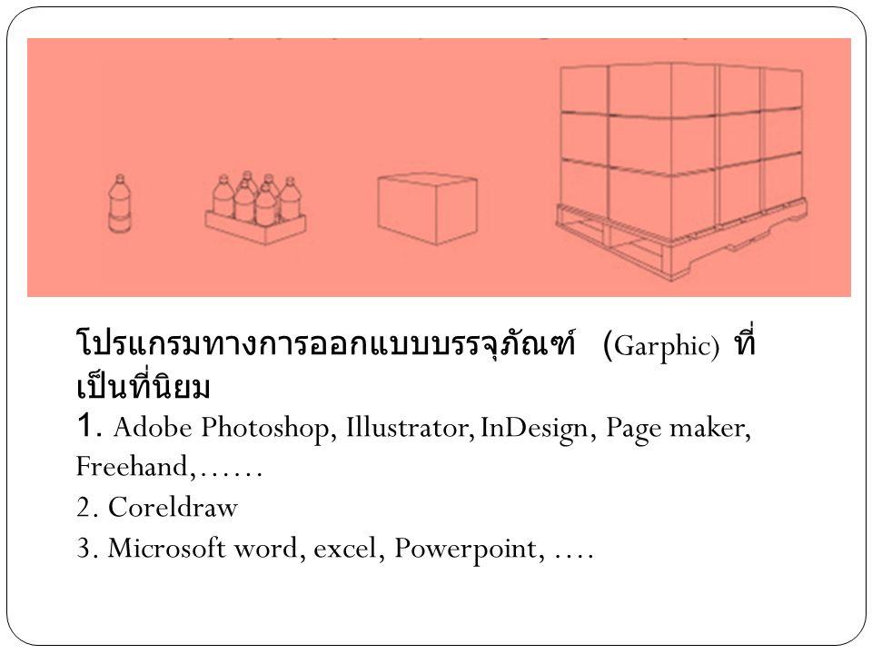 โปรแกรมทางการออกแบบบรรจุภัณฑ์ (Garphic) ที่ เป็นที่นิยม 1. Adobe Photoshop, Illustrator, InDesign, Page maker, Freehand,…… 2. Coreldraw 3. Microsoft w