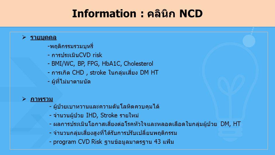 Information : คลินิก NCD  รายบุคคล -พฤติกรรมรวมบุหรี่ - การประเมินCVD risk - BMI/WC, BP, FPG, HbA1C, Cholesterol - การเกิด CHD, stroke ในกลุ่มเสี่ยง DM HT - ผู้ที่ไม่มาตามนัด  ภาพรวม - ผู้ป่วยเบาหวานและความดันโลหิตควบคุมได้ - จำนวนผู้ป่วย IHD, Stroke รายใหม่ - ผลการประเมินโอกาสเสี่ยงต่อโรคหัวใจและหลอดเลือดในกลุ่มผู้ป่วย DM, HT - จำนวนกลุ่มเสี่ยงสูงที่ได้รับการปรับเปลี่ยนพฤติกรรม - program CVD Risk ฐานข้อมูลมาตรฐาน 43 แฟ้ม