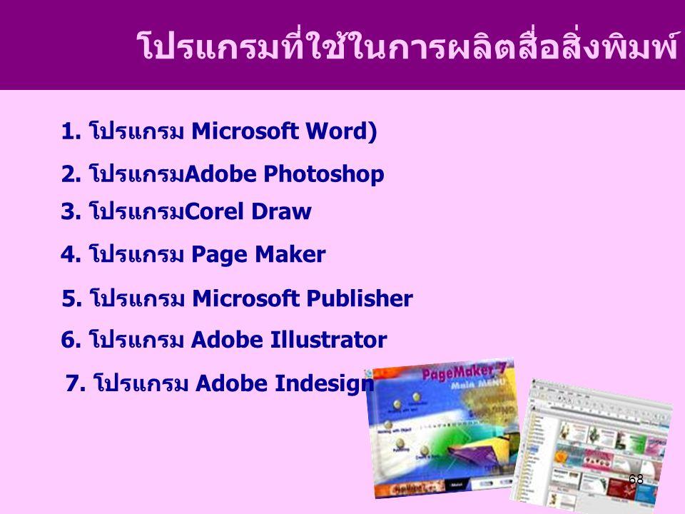 โปรแกรมที่ใช้ในการผลิตสื่อสิ่งพิมพ์ 1. โปรแกรม Microsoft Word) 2.