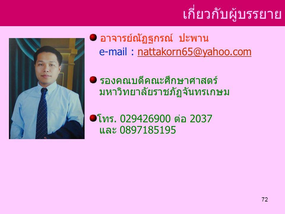 เกี่ยวกับผู้บรรยาย อาจารย์ณัฏฐกรณ์ ปะพาน e-mail : nattakorn65@yahoo.comnattakorn65@yahoo.com รองคณบดีคณะศึกษาศาสตร์ มหาวิทยาลัยราชภัฏจันทรเกษม โทร.