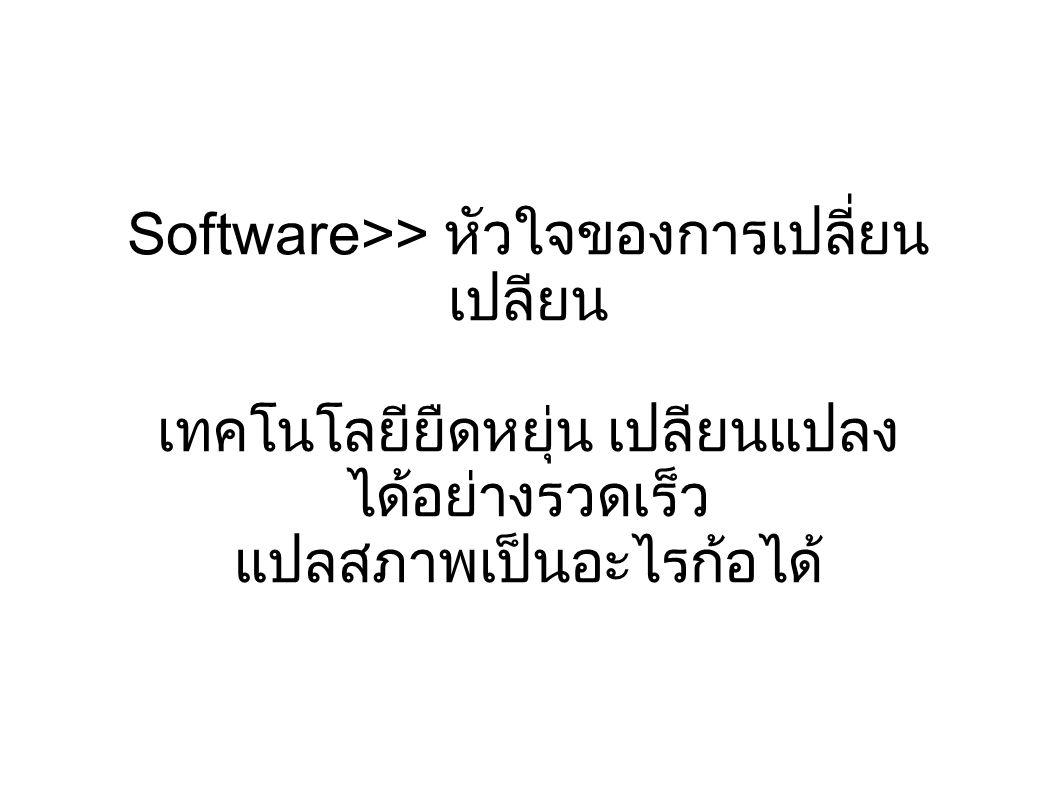 Software>> หัวใจของการเปลี่ยน เปลียน เทคโนโลยียืดหยุ่น เปลียนแปลง ได้อย่างรวดเร็ว แปลสภาพเป็นอะไรก้อได้