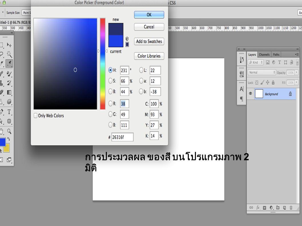 การประมวลผล ของสี บนโปรแกรมภาพ 2 มิติ