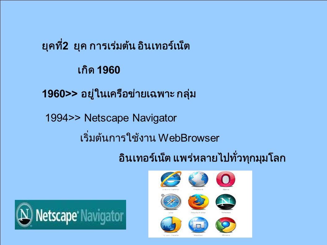 ยุคที่ 2 ยุค การเิร่มต้น อินเทอร์เน็ต เกิด 1960 1960>> อยู่ในเครือข่ายเฉพาะ กลุ่ม 1994>> Netscape Navigator เริ่มต้นการใช้งาน WebBrowser อินเทอร์เน็ต