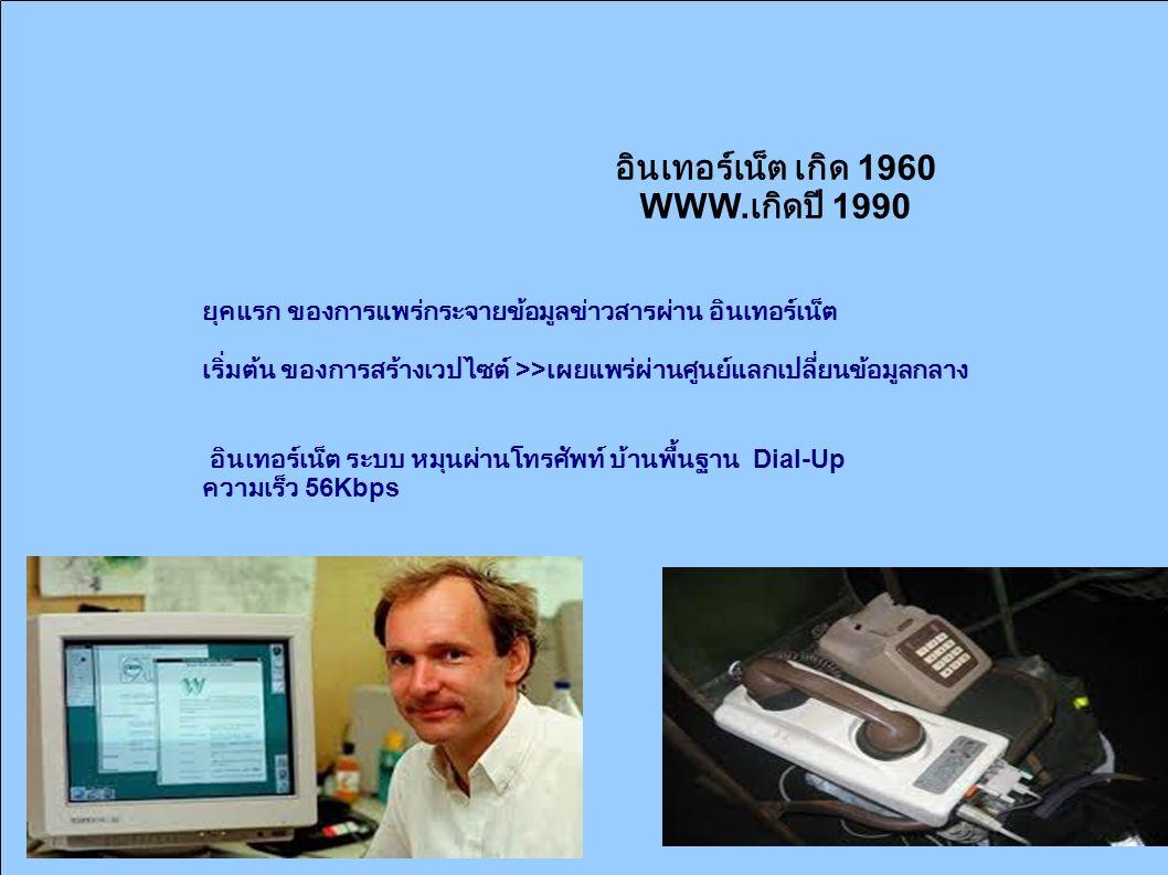 อินเทอร์เน็ต เกิด 1960 WWW. เกิดปี 1990 ยุคแรก ของการแพร่กระจายข้อมูลข่าวสารผ่าน อินเทอร์เน็ต เริ่มต้น ของการสร้างเวปไซต์ >> เผยแพร่ผ่านศูนย์แลกเปลี่ย