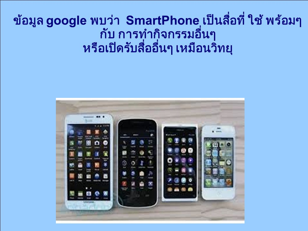 ข้อมูล google พบว่า SmartPhone เป็นสื่อที่ ใช้ พร้อมๆ กับ การทำกิจกรรมอื่นๆ หรือเปิดรับสื่ออื่นๆ เหมือนวิทยุ ยุ