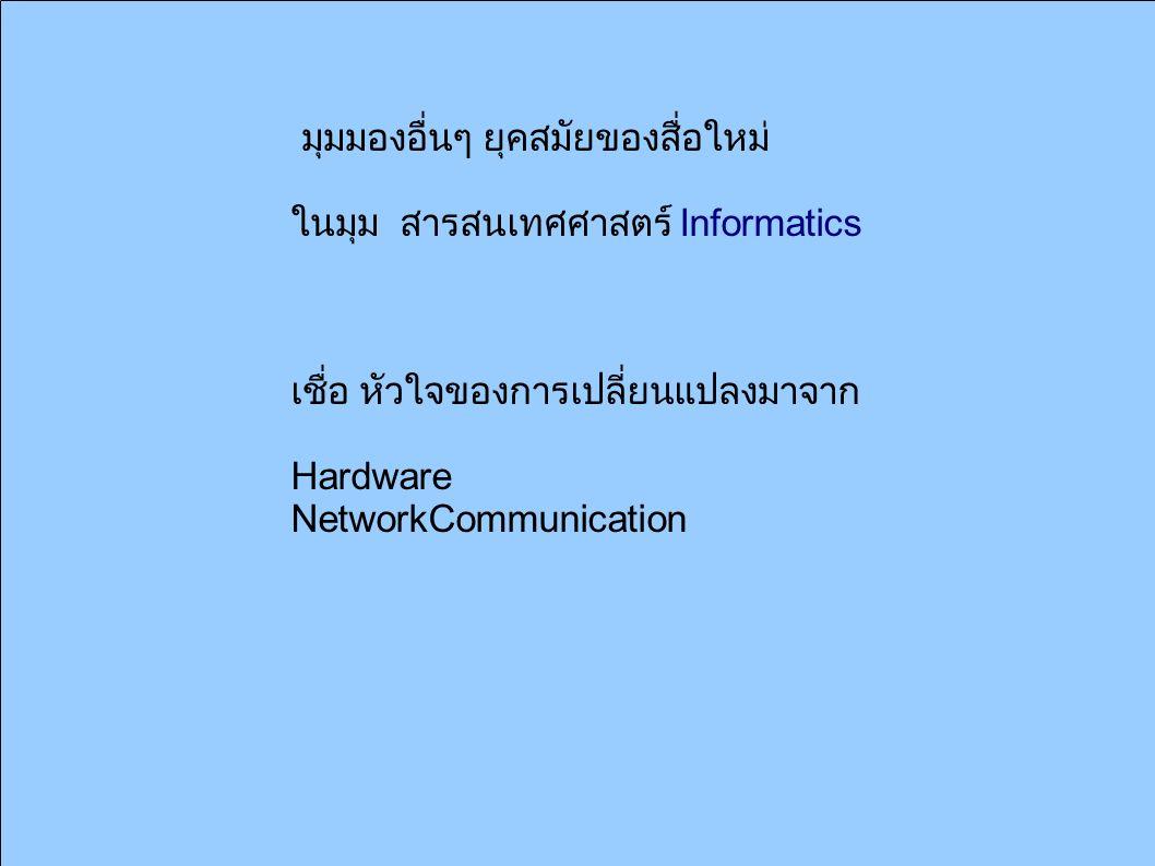 มุมมองอื่นๆ ยุคสมัยของสื่อใหม่ ในมุม สารสนเทศศาสตร์ Informatics เชื่อ หัวใจของการเปลี่ยนแปลงมาจาก Hardware NetworkCommunication