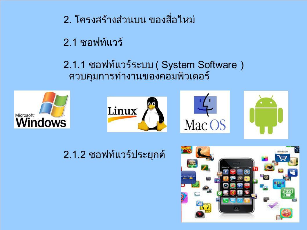 2. โครงสร้างส่วนบน ของสื่อใหม่ 2.1 ซอฟท์แวร์ 2.1.1 ซอฟท์แวร์ระบบ ( System Software ) ควบคุมการทำงานของคอมพิวเตอร์ 2.1.2 ซอฟท์แวร์ประยุกต์