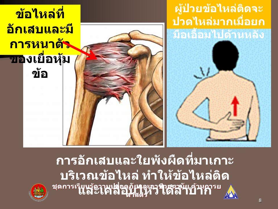 7 อันตรายจากท่าทางการทำงานที่ ไม่เหมาะสม : 1) อันตรายต่อกล้ามเนื้อ ข้อต่อ และเส้น เอ็น 2) อันตรายต่อเส้นเลือดและเส้นประสาท 3) อันตรายต่ออวัยวะภายใน 4) ประสิทธิภาพในการทำงานลดลง