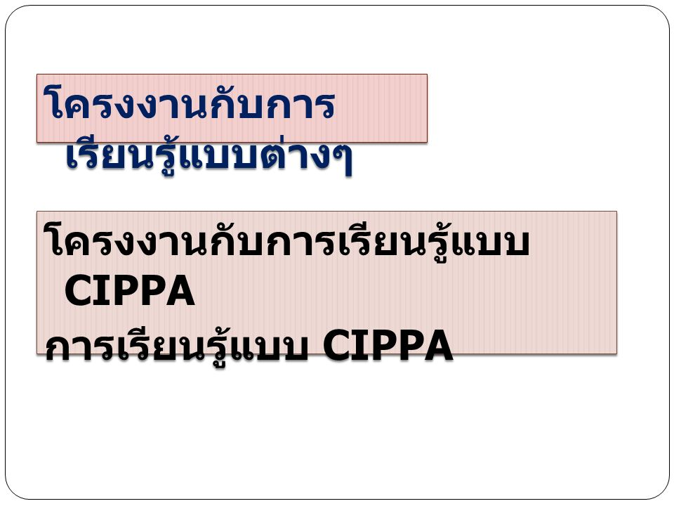 CIPPA Model C = Construction การสร้างองค์ความรู้ I = Interaction มีปฏิสัมพันธ์กันในกลุ่ม P = Physical Participation มีการ เคลื่อนไหวร่างกาย P = Process Learning กระบวนการต่าง ๆ กระบวนการคิด กระบวนการแก้ปัญหา กระบวนการทำงานกลุ่ม A = Application การประยุกต์ใช้จริง ใน ชีวิตประจำวัน