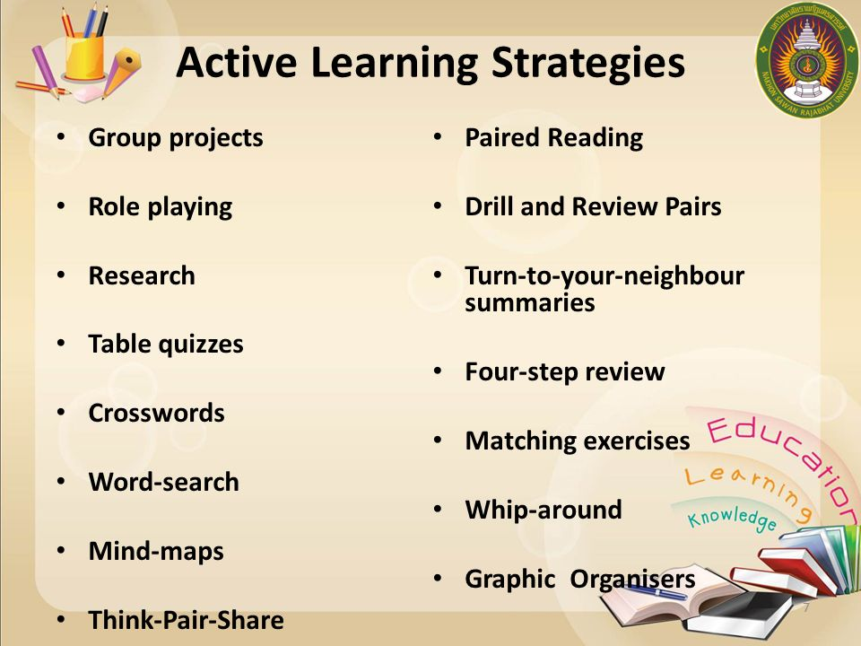 Active Techniques Think-pair-share (pair-share) Role playing, simulations Muddiest point/clearest point Group quizzing Generate lists Cooperative learning Minute papers and writing assignments PBL and case studies Concept maps
