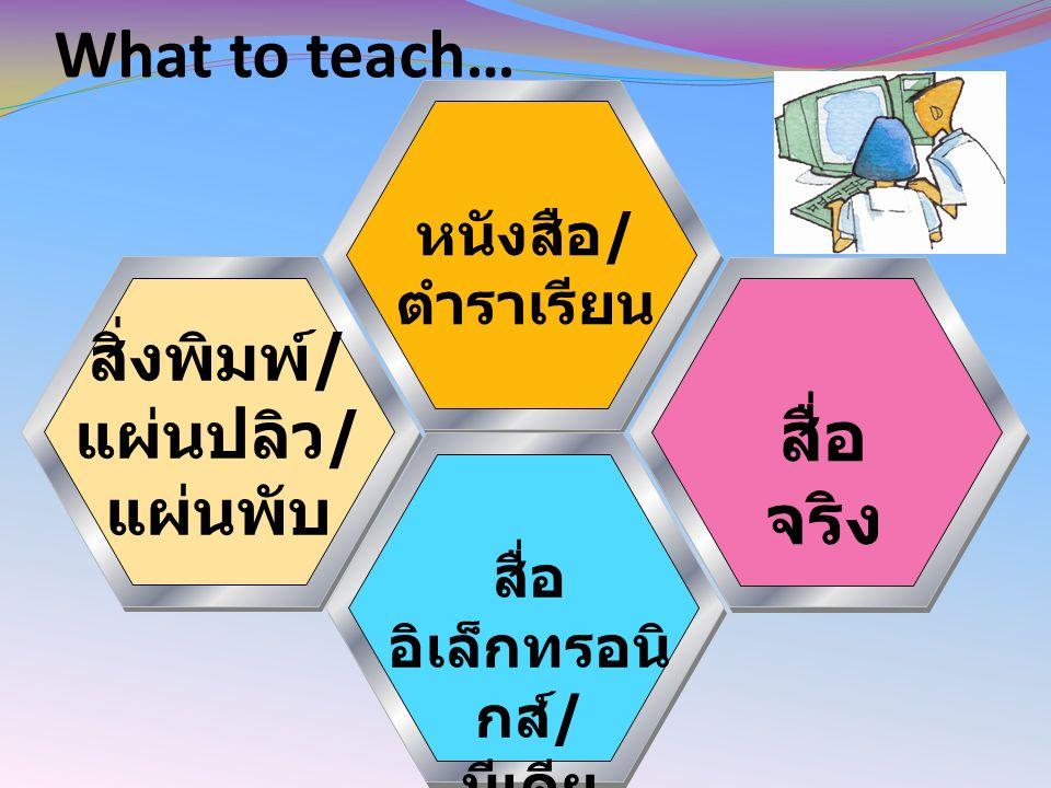 What to teach… หนังสือ / ตำราเรียน สิ่งพิมพ์ / แผ่นปลิว / แผ่นพับ สื่อ จริง สื่อ อิเล็กทรอนิ กส์ / มีเดีย