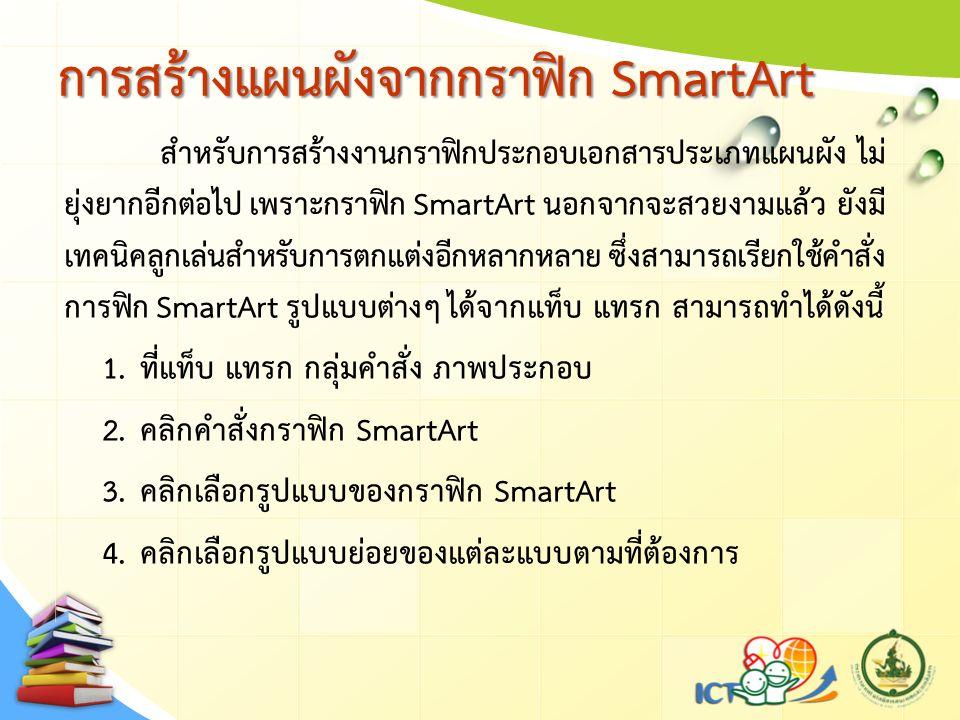 การสร้างแผนผังจากกราฟิก SmartArt สำหรับการสร้างงานกราฟิกประกอบเอกสารประเภทแผนผัง ไม่ ยุ่งยากอีกต่อไป เพราะกราฟิก SmartArt นอกจากจะสวยงามแล้ว ยังมี เทค