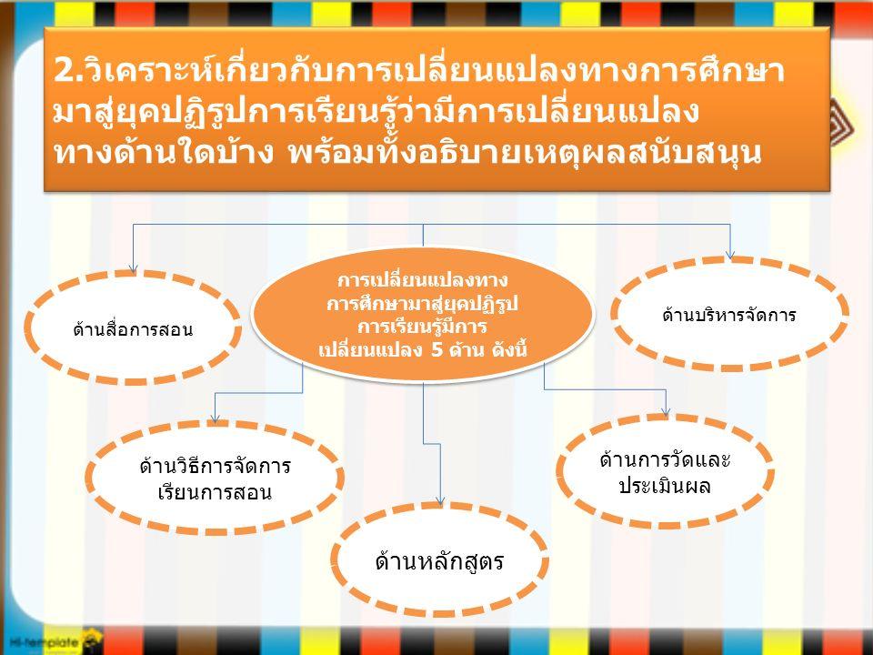 2.วิเคราะห์เกี่ยวกับการเปลี่ยนแปลงทางการศึกษา มาสู่ยุคปฏิรูปการเรียนรู้ว่ามีการเปลี่ยนแปลง ทางด้านใดบ้าง พร้อมทั้งอธิบายเหตุผลสนับสนุน การเปลี่ยนแปลงทาง การศึกษามาสู่ยุคปฏิรูป การเรียนรู้มีการ เปลี่ยนแปลง 5 ด้าน ดังนี้ ด้านสื่อการสอน ด้านวิธีการจัดการ เรียนการสอน ด้านหลักสูตร ด้านการวัดและ ประเมินผล ด้านบริหารจัดการ