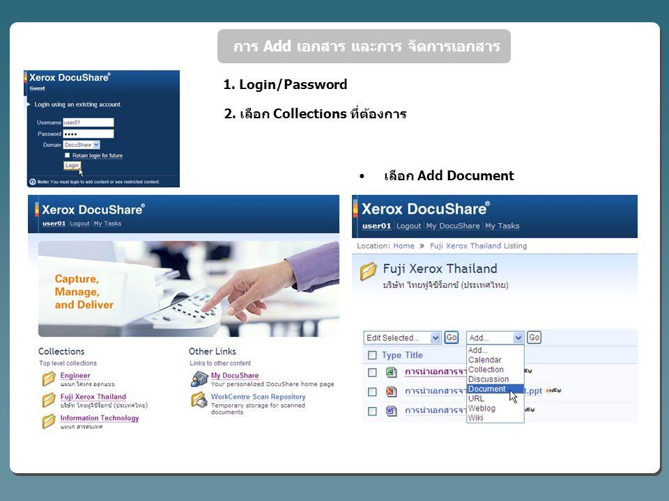 การ Add เอกสาร และการ จัดการเอกสาร 1.Login/Password 2.