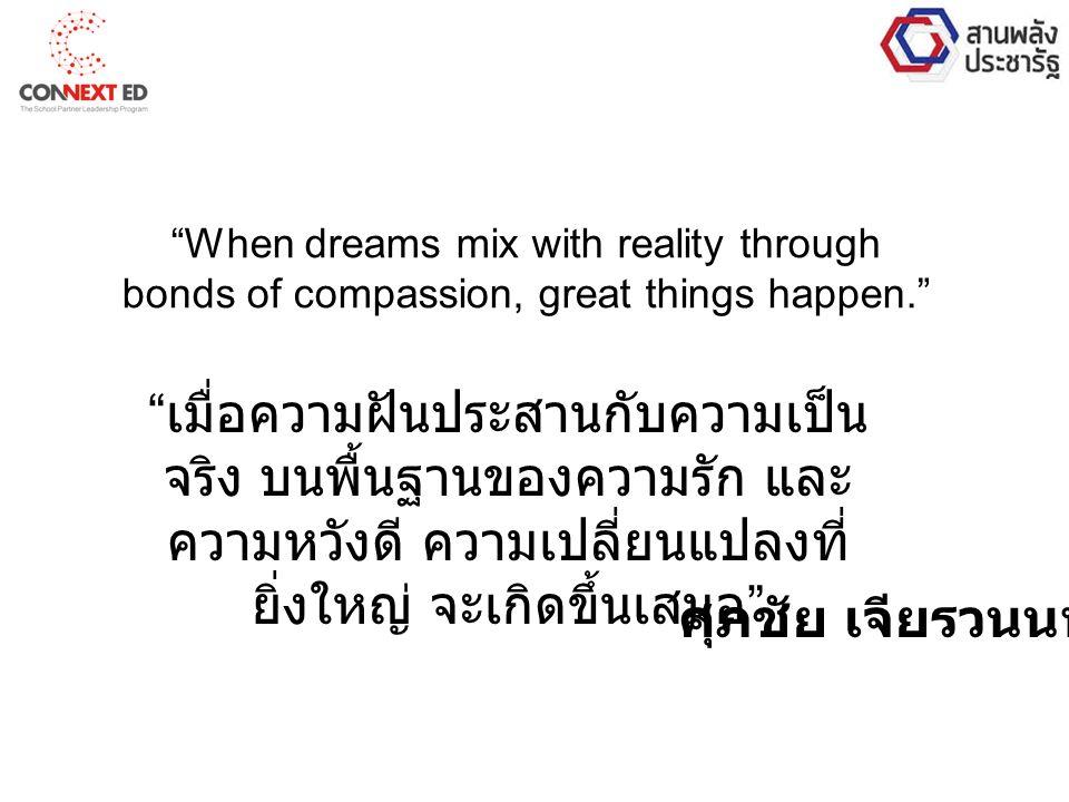 When dreams mix with reality through bonds of compassion, great things happen. ศุภชัย เจียรวนนท์ เมื่อความฝันประสานกับความเป็น จริง บนพื้นฐานของความรัก และ ความหวังดี ความเปลี่ยนแปลงที่ ยิ่งใหญ่ จะเกิดขึ้นเสมอ